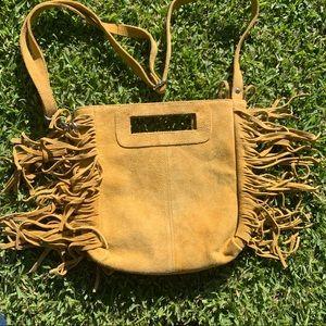 ✨✨ Fabulous Fringe Anthro Bag in Mustard Suede ✨✨